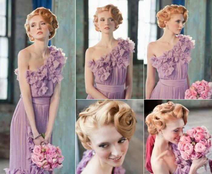 adorable look en color lila suave, mujer con elegante y bonito recogido en el pelo y ramo de rosas rosas, apariencia vintage