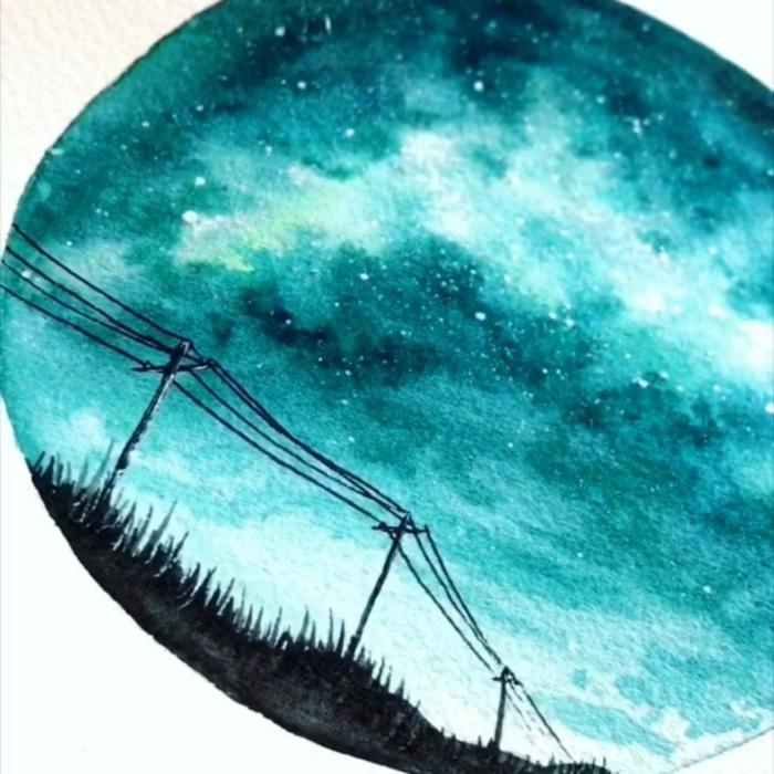 las mejores ideas de dibujos hechos con acuarela para principiantes, dibujos color azul, cielo estrellado, paisajes bonitos