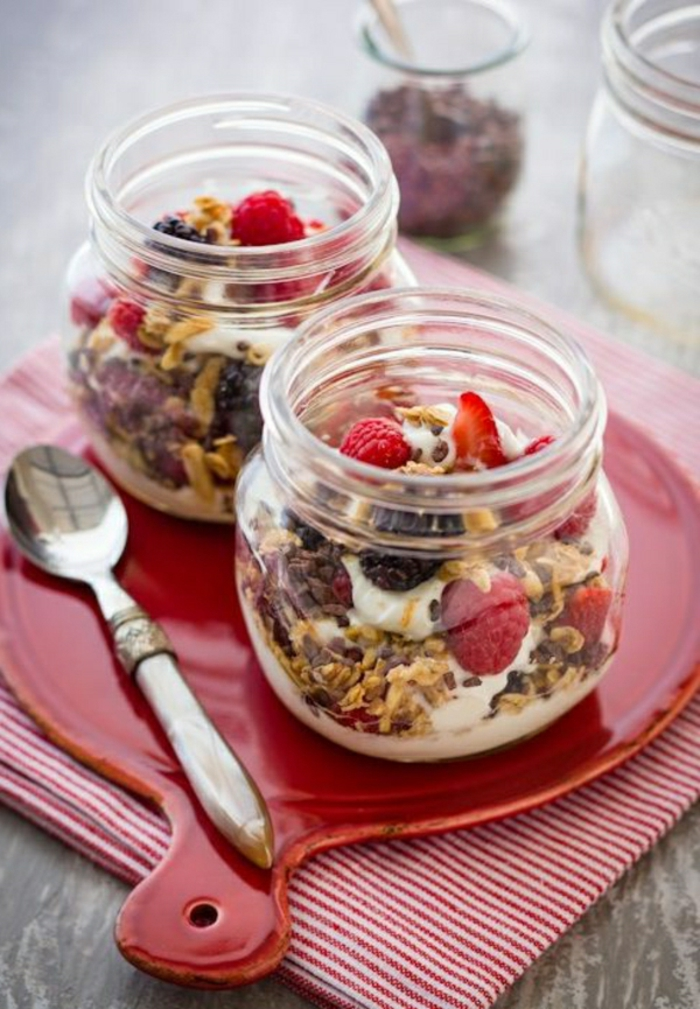 fotos de desayunos saludables con yogur y cereales, desayunos ricos, qué desayunar en casa, más de 173 ideas fotos