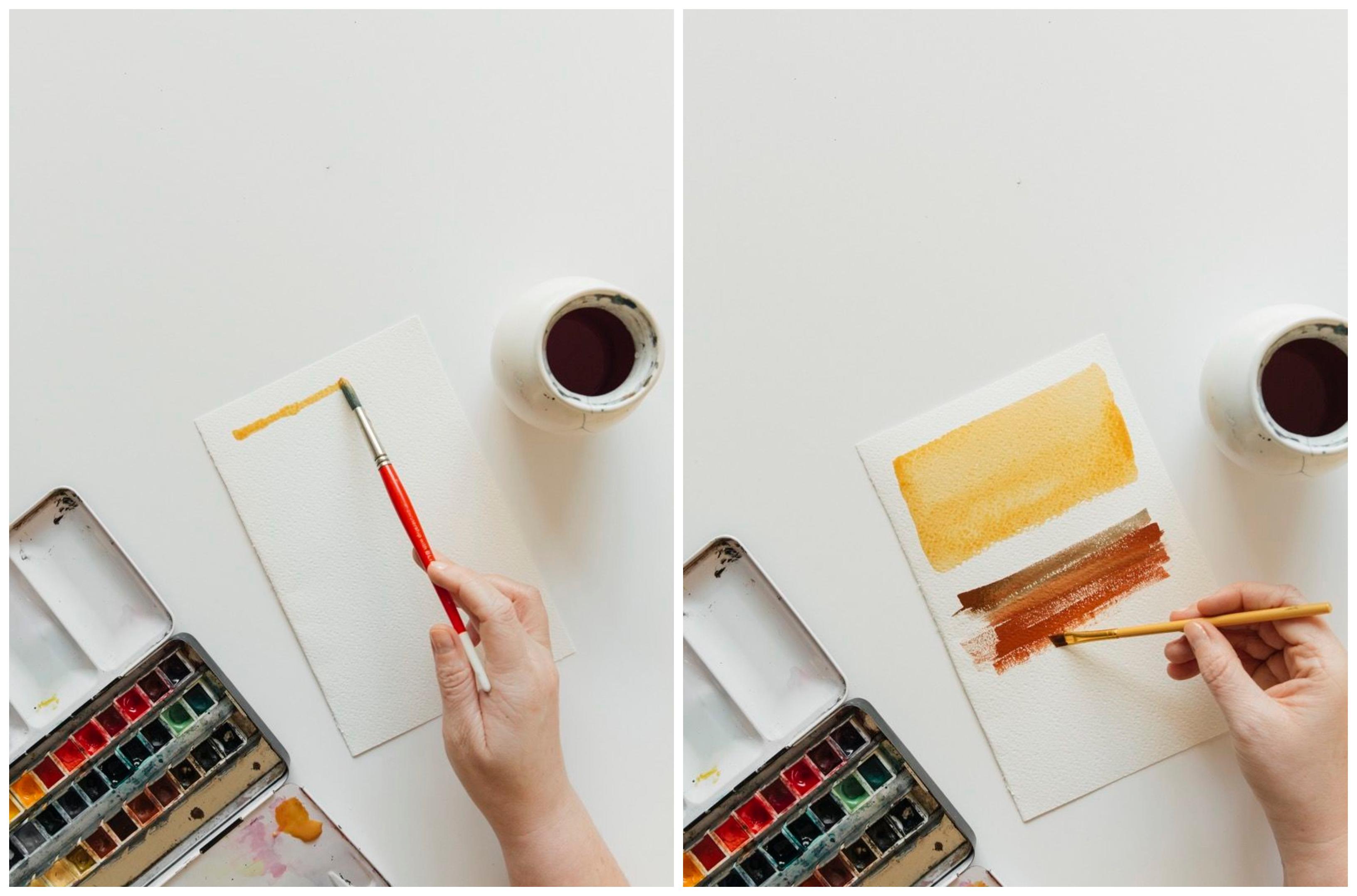 tecnicas de pintura con acuarelas explicadas paso a paso, como pintar con acuarela húmedo sobre seco, fotos de pinturas acuarela