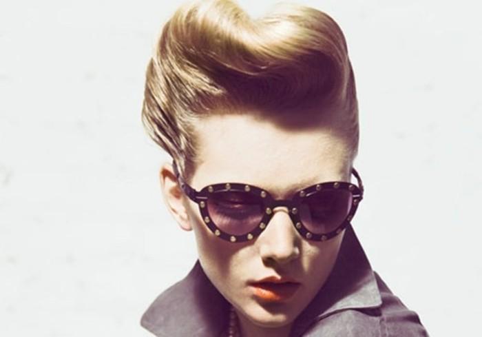 fantásticas ideas de peinados en estilo vintage, apariencia retro con gafas originales, labios en color naranja y recogido pin up
