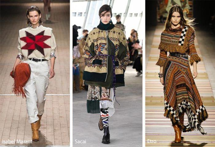 tres propuestas de prendas con detalles en estilo etno, más de 100 imagenes con ideas de outfit invierno otoño 2019 2020
