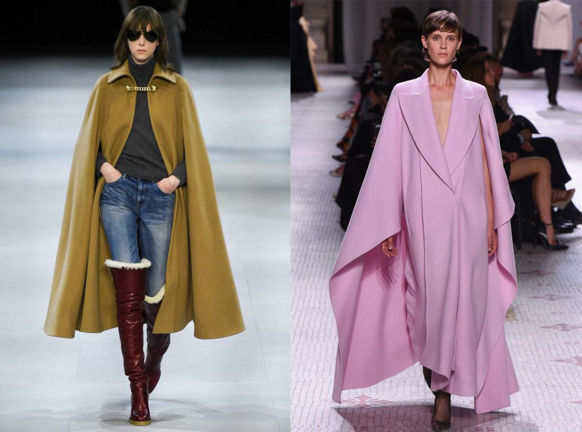 ejemplos de look invierno 2019, cuáles son las tendencias de moda mujer, elegantes capas maxy en color ocre y rosado