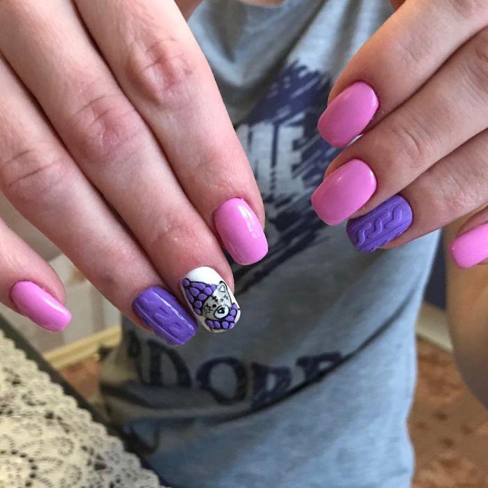 combinaciones de colores para uñas, dibujos de uñas de gel bonitos, uñas largas pintadas en blanco, lila y rosado
