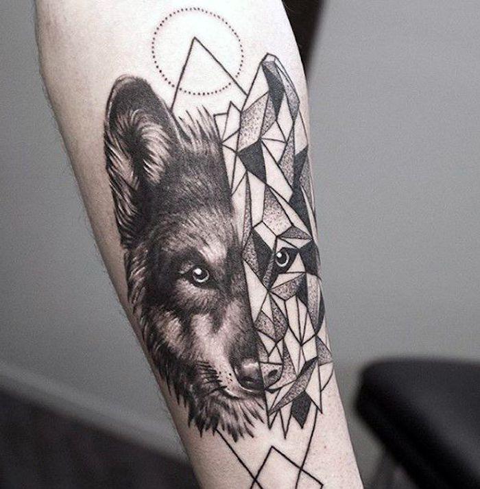 tatuajes geométricos modernos, tatuaje lobo en el antebrazo, ideas de tatuajes pequeños para mujeres originales