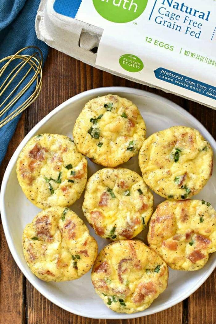 magdalenas proteínicas con huevos, recetas con huevos para un desayuno sano que te llenara, desayunos faciles