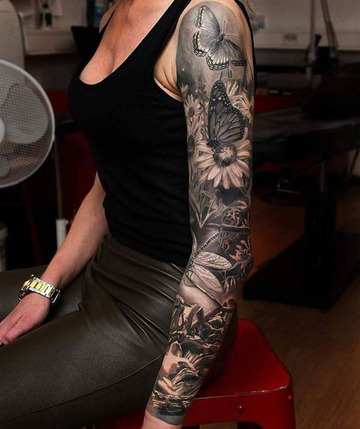 tatuajes con flores y mariposas, diseños de tatuajes para mujeres, tatuaje brazo entero mujer, fotos de tatuajes bonitos