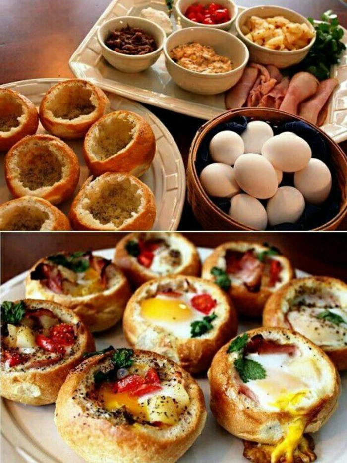 barcos de pan rellenos con huevos, vegetales y embutidos, desayunos faciles para empezar el día, desayunos creativos