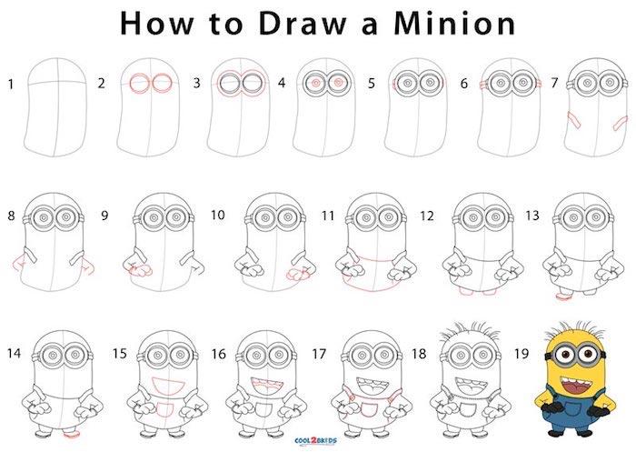 como dibujar un minión paso a paso, tutoriales de dibujos para pequeños y adultos, tutoriales de dibujos en pasos simples