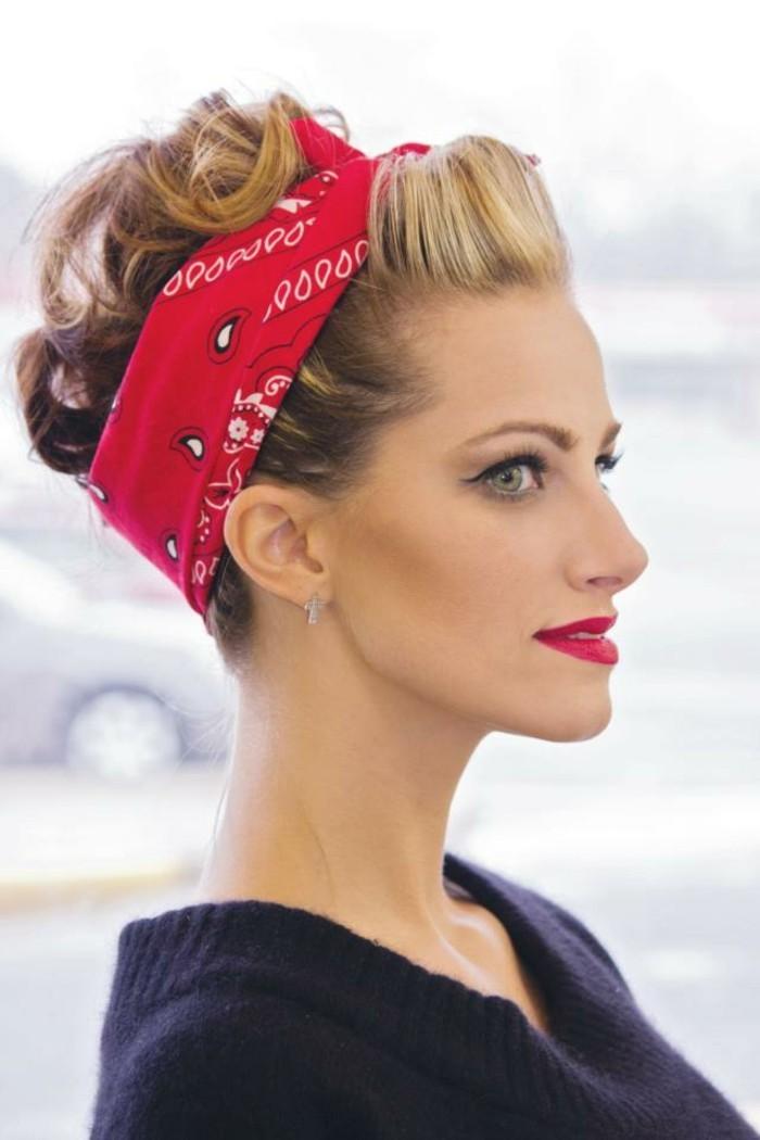 peinados y recogidos estilo vintage, recogido con bandana, super originales ideas sobre como elevar tu apariencia al máximo