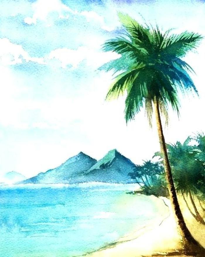 paisaje exótico con palmera, mar y montañas, dibujos animales y paisajes naturales, los mejores dibujos acuarelas