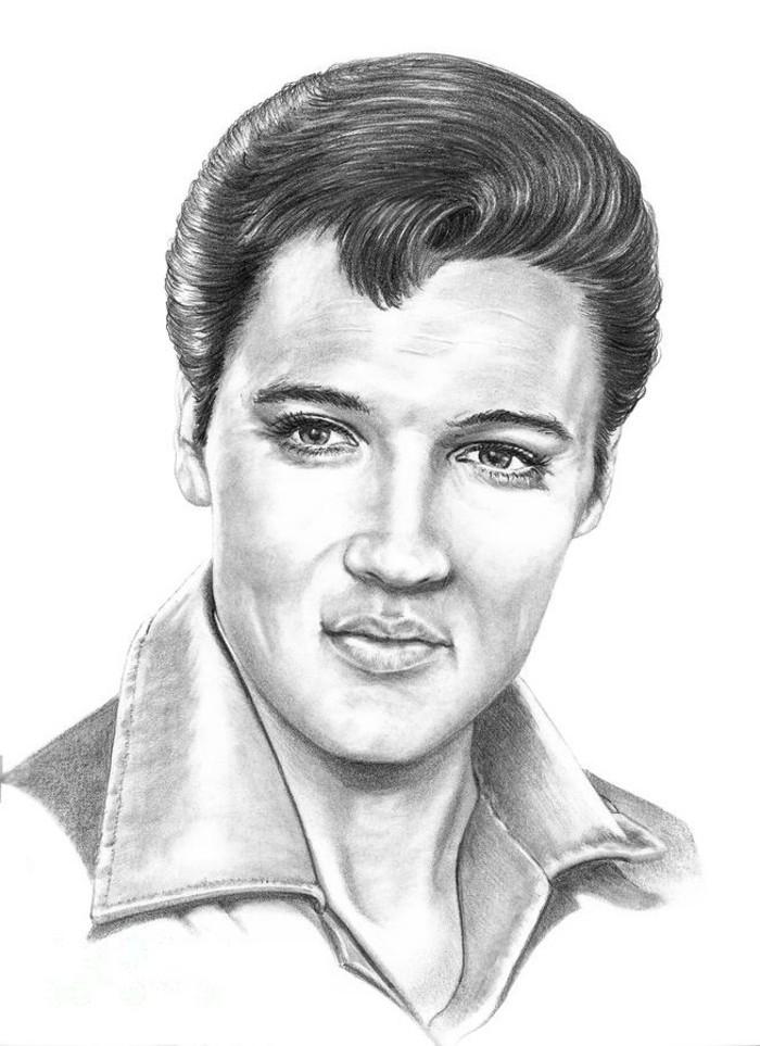 dibujo a lápiz de Elvis Presley, bonitas imágenes y dibujos del Rey del Rock Elvis Presley y su famoso peinado con tupé