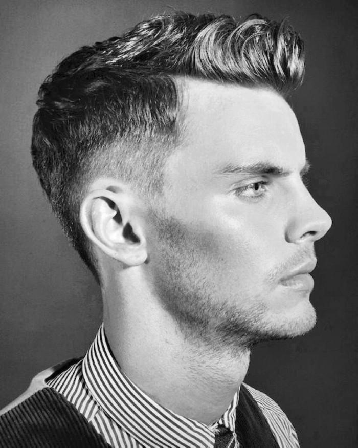 peinado halcón hombre popular en los años 50, ideas de peinados con fleco largo, corte de pelo hombre original