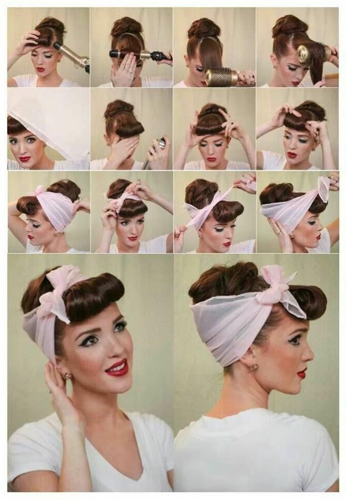 como hacer un recogido con bandana paso a paso, tutoriales peinados vintage mujer, ideas peinados pelo largo pin up
