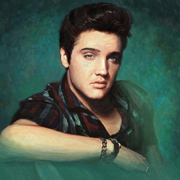 pintura al oleo de Elvis Presley con su famoso peinado con tupé, imágenes peinados vintage hombre mujer originales