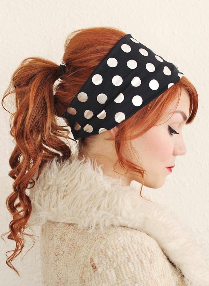coletas y recogidos en estilo pin up, bandana en puntos blanco y negro en el pelo, las mejores imagenes chicas pin up