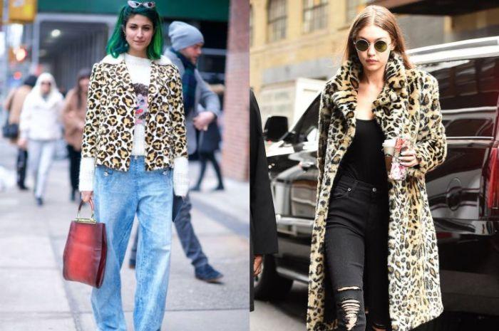 como combinar un abrigo con print animal, estampado de leopardo combinado con vaqueros anchos y pantalones pitillo