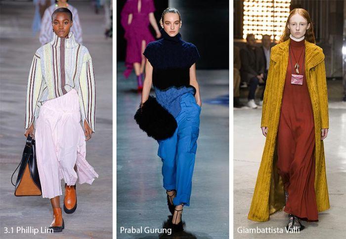 largas faldas y vestidos en colores pastel, negro y azul brillante, larga capa en color ocre combinada con un vestido en terracota