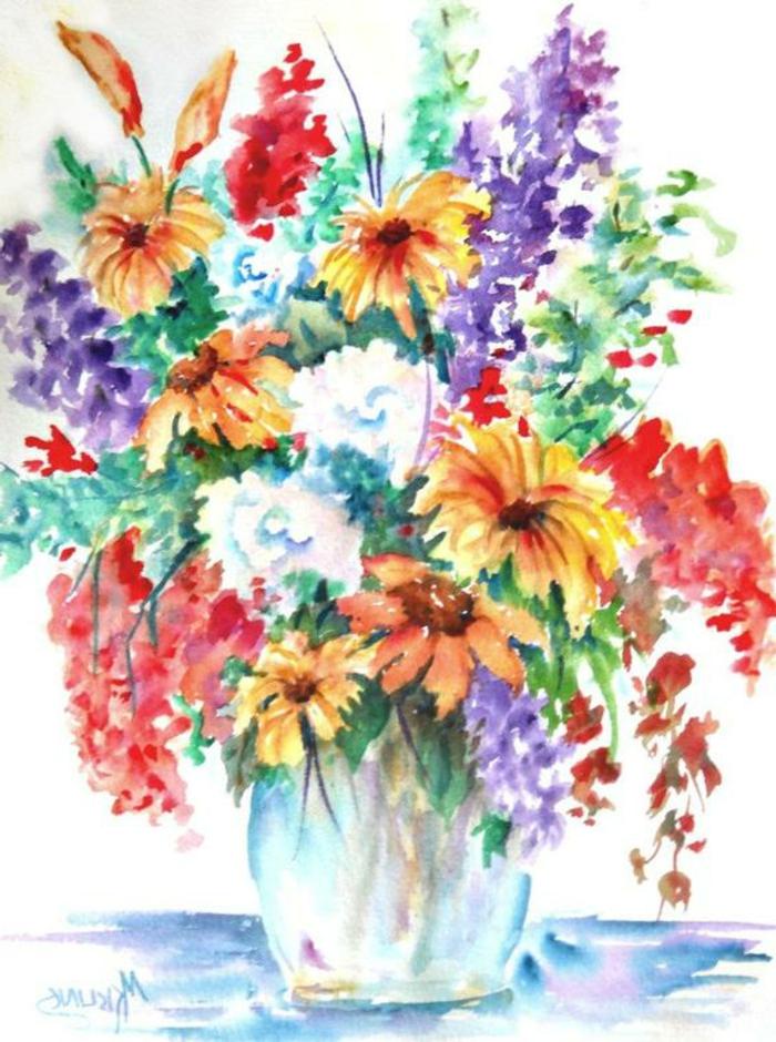 ramo de flores bonito en colores vibrantes en un florero, dibujos fáciles y originales para niños y principiantes en la galería de imágenes