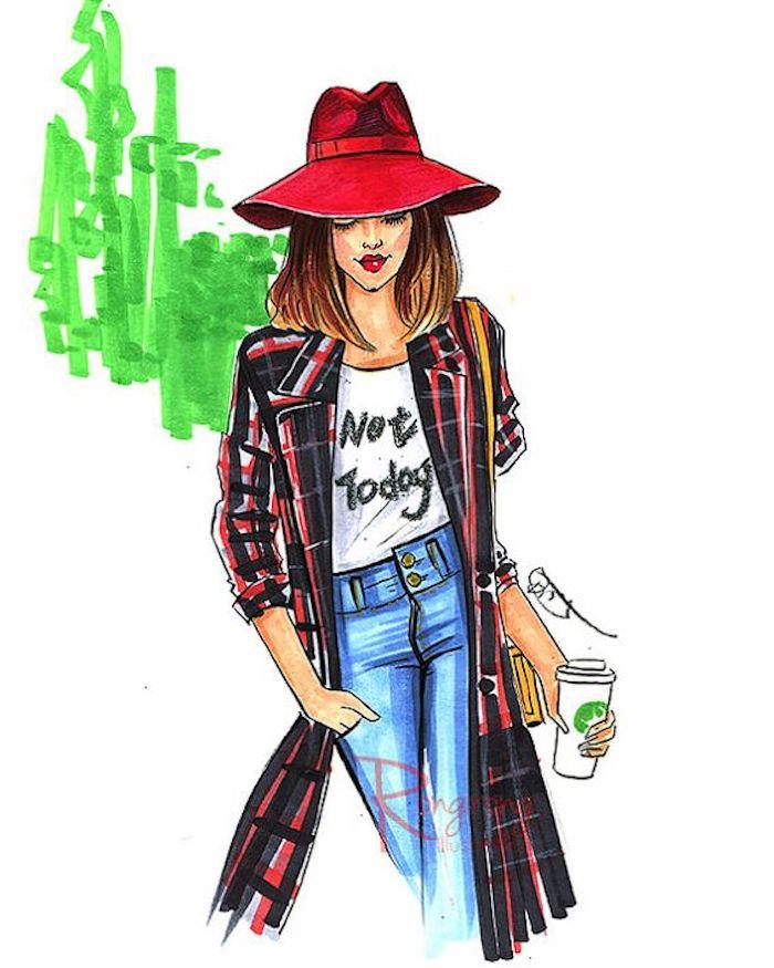 dibujos urbanos de chicas elegantes con atuendos de moda, ideas para los avanzados en los dibujos, dibujos para dibujar