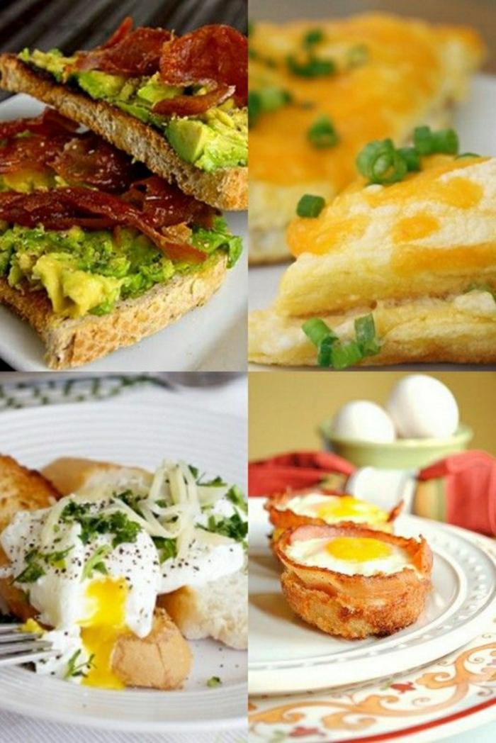 cuatro propuestas de comidas con huevos, recetas con huevos para un desayuno o brunch, ideas de desayunos fáciles
