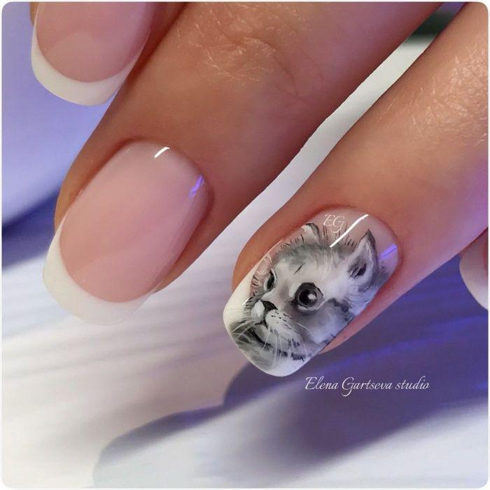 diseños de uñas francesas decoradas con dibujos originales, fotos de manicura francesas con decorados, 85 ideas de uñas únicas