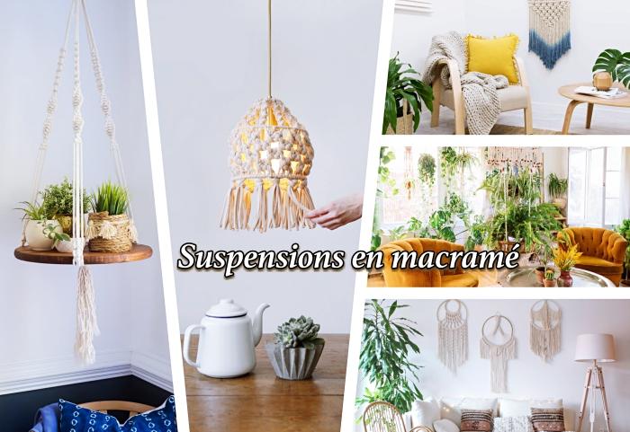 diferentes variantes de objetos decorativos hechos a nudos macrame, ideas de detalles decorativos hechos con técnicas macramé