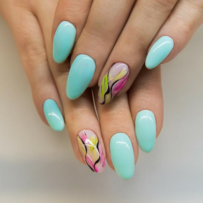 uñas decoradas en colores para el verano, diseños de uñas largas de forma almendrada, colores para uñas originales