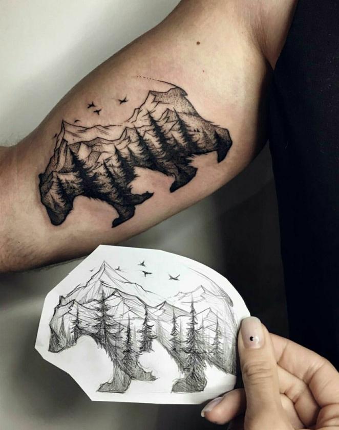 diseños de tatuajes que inspiran, tatuaje antebrazo hombre, diseños de tatuajes de animales, tatuajes oso montaña