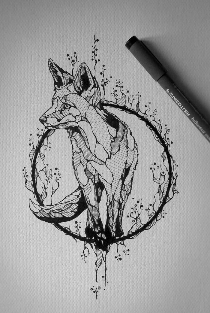originales ideas de plantillas de tatuajes de animales, tatuaje geométrico con zorro, diseños de tattoos geométricos