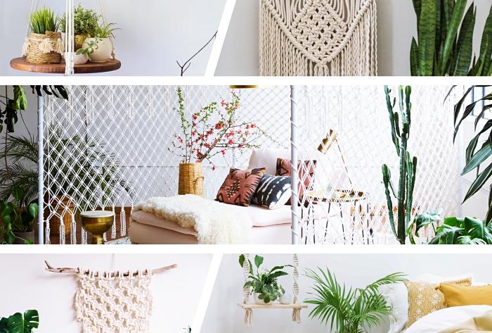 ideas sobre como hacer macrame, objetos decorativos DIY para decorar la casa, decoración con cortinas y colgantes macrame