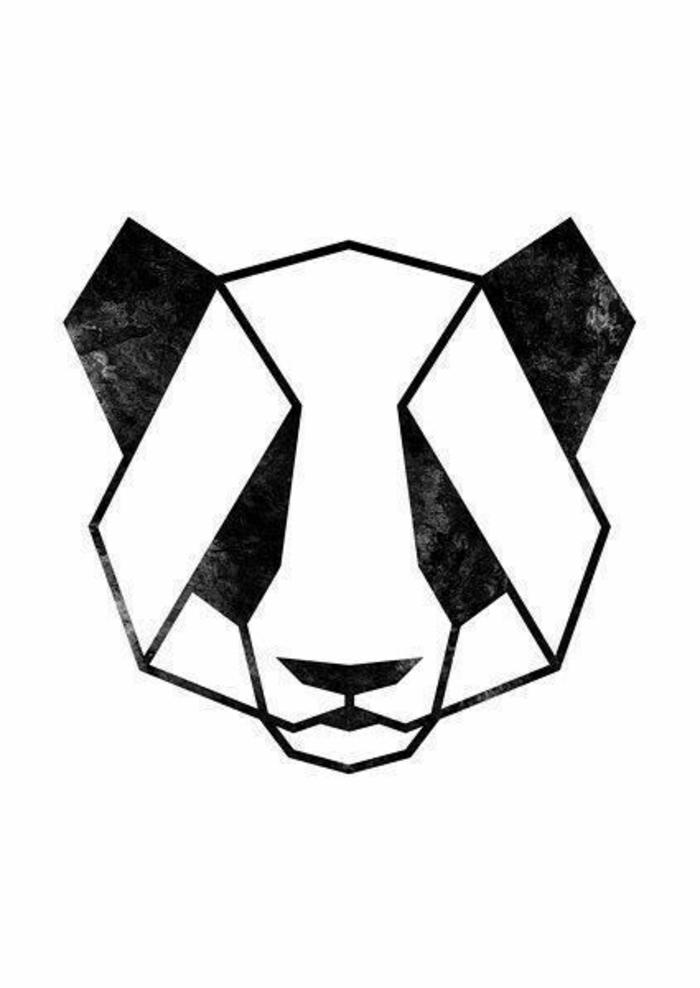 tatuaje geométrico panda, diseños originales de tattoos geométricos, plantillas de tatuajes con animales, diseños bonitos