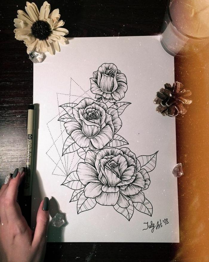 tatuajes de flores bonitos, qué significa un tatuaje de rosa, plantillas de tatuajes originales con flores, diseños de tattoos