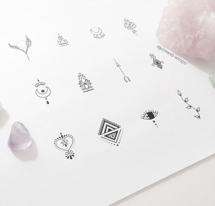 mini plantillas de tatuajes, bonitos diseños de tatuajes minimalistas, tatuajes pequeños simbólicos para imprimir, fotos de tattoos