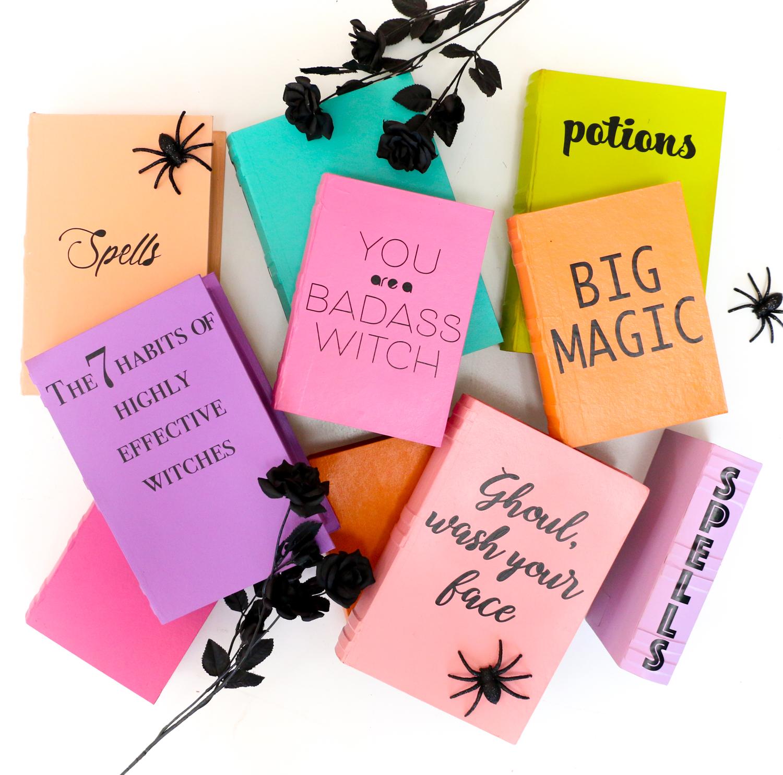 magníficas ideas de decoracion de halloween casera, cuadernos DIY, libros de brujas hechos a mano, decoración casera colorida
