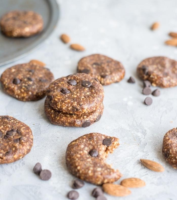 las mejores ideas de receta de galletas de chocolate saludables, avena, chocolate, almendras y chispas de chocolate
