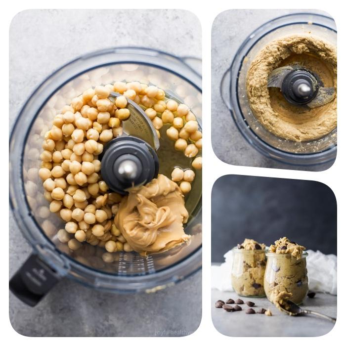 recetas de galletas faciles y originales, galletas blandas en tazas hechas con manteca de mani, garbanzos y chispas de chocolate