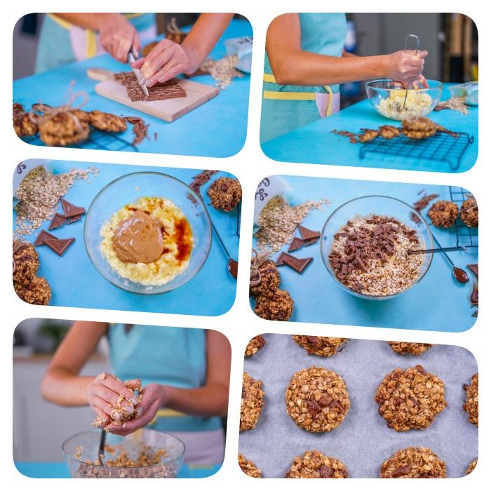 super originales ideas de recetas de galletas fáciles y rápidas, recetas de galletas en tutorial de imágenes, manteca de cacahuetes, plátanos y avenas
