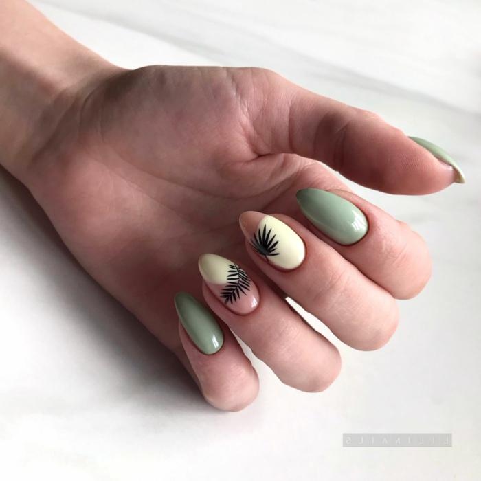 colores de uñas de moda y decoraciones bonitas, uñas pintadas en amarillo, beige y verde con decoración en negro
