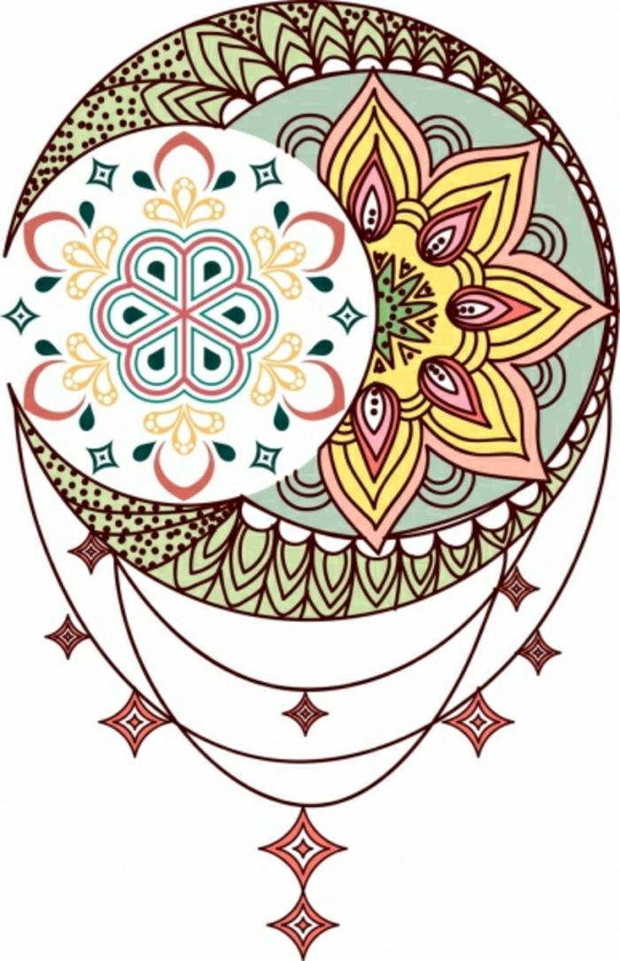 tatuajes coloridos con un significado especial, diseños de tatuajes con mandalas, modelos de tatuajes que puedes imprimir