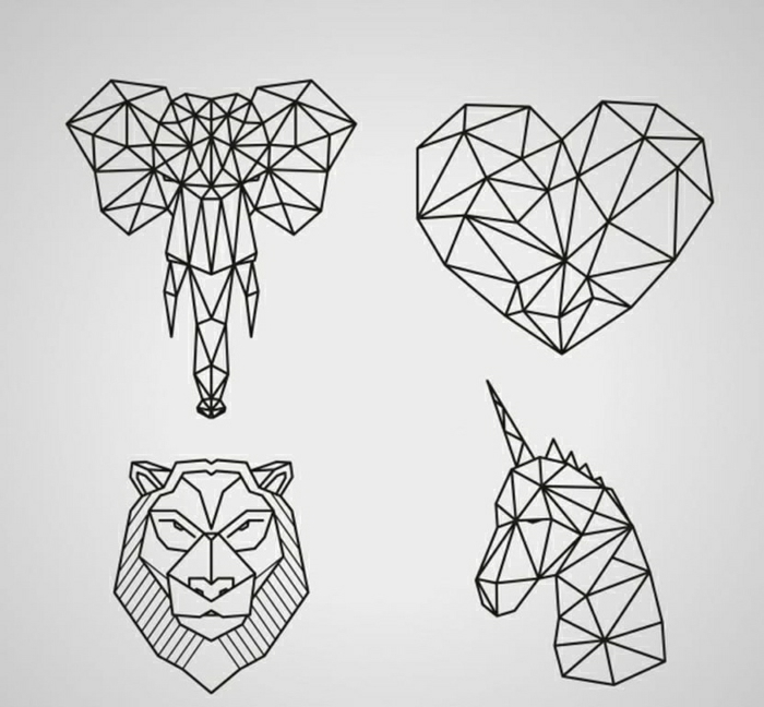 cuatro diseños de tatuaje geometrico, diseños originales de tatuajes de animales figuras geométricas, fotos de dibujos tattoos