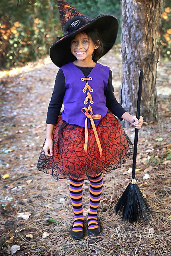 disfraz halloween niña bruja, disfraces caseros fáciles y rápidos, disfrace niña original hecho en casa