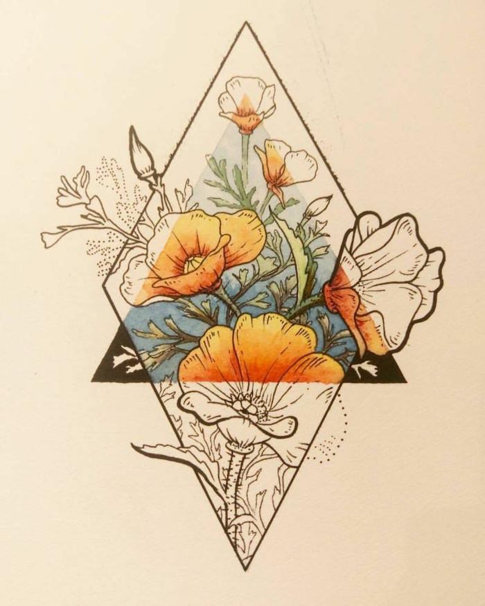 rombo con flores con y sin color, triángulo, tatuaje geometrico con motivos florales, ideas de modelos de tattoos con flores