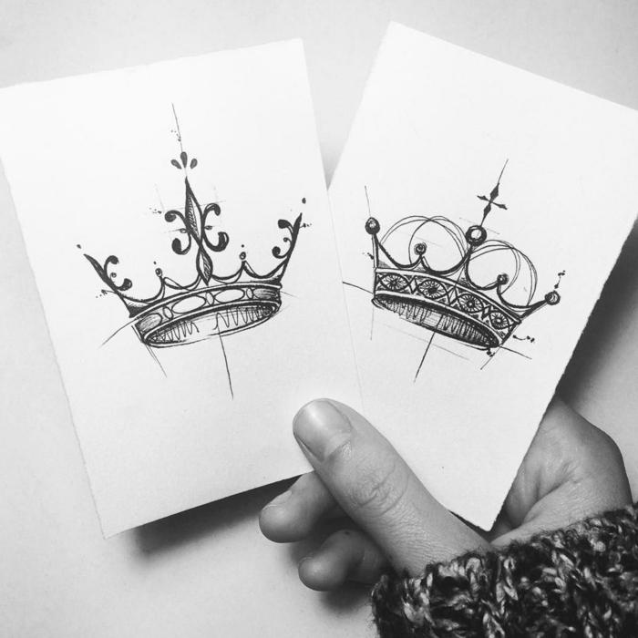 tatuaje geometrico con coronas, fotos de dibujos de tatuajes, originales ideas de diseños de tatuajes temporales