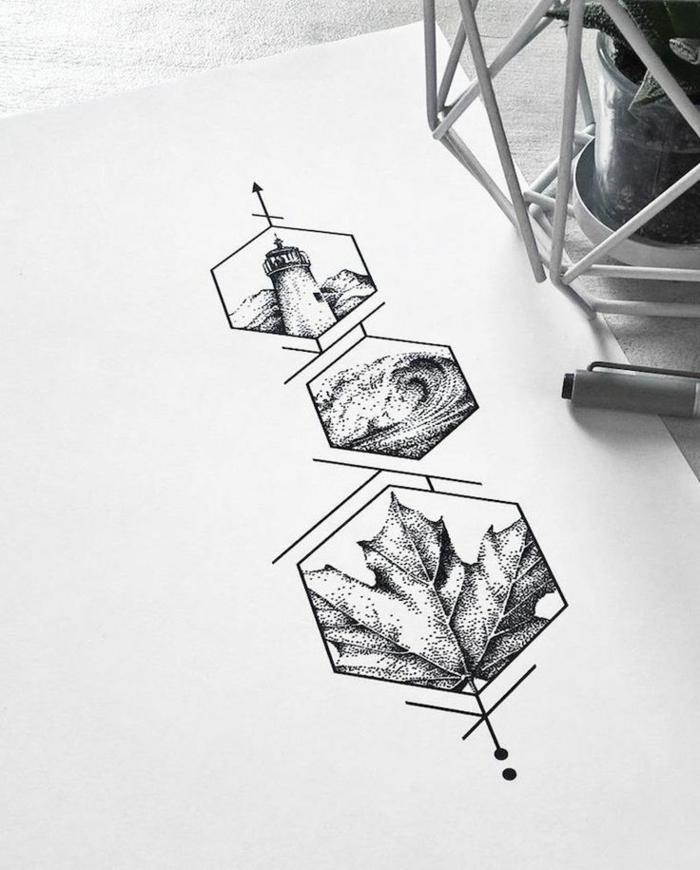 diseño de tatuaje geometrico con gran significado tatuaje rombos, hojas y olas del mar, diseños de tattoos bonitos
