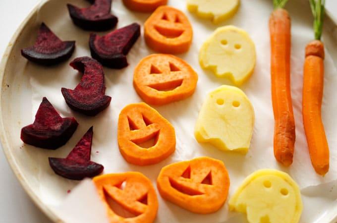 entrantes saludables personalizados para el día de Halloween, recetas de halloween originales y saludables en fotos