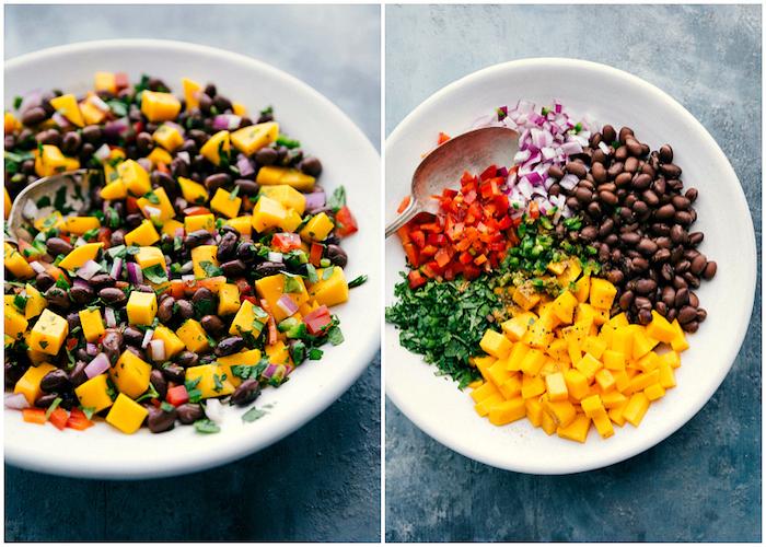 diferentes ideas de rellenos para tacos originales, mango, judías negras, pimientos rojos, cebolla roja y perejil fresco