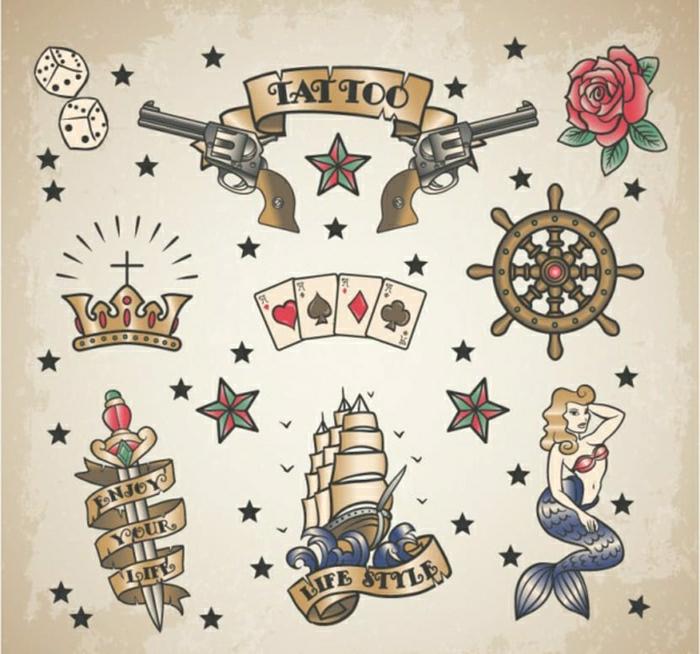 pequeños diseños de tattoos en estilo old school, tatuaje geometrico y tatuajes vintage, plantillas imprimibles tattoos