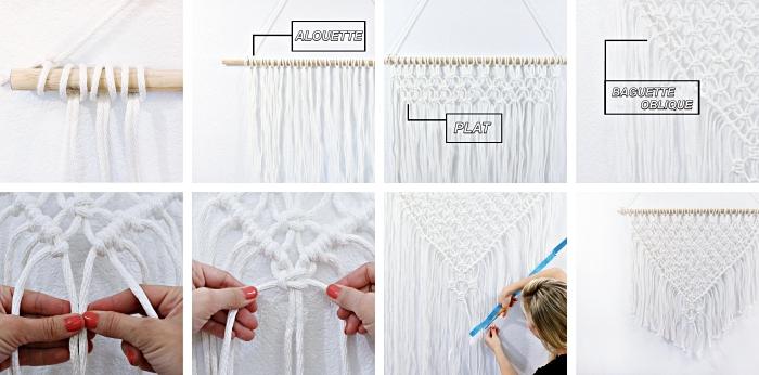 ideas sobre como hacer macrame paso a paso, nudos originales cuerda blanca, manualidades para decorar la casa