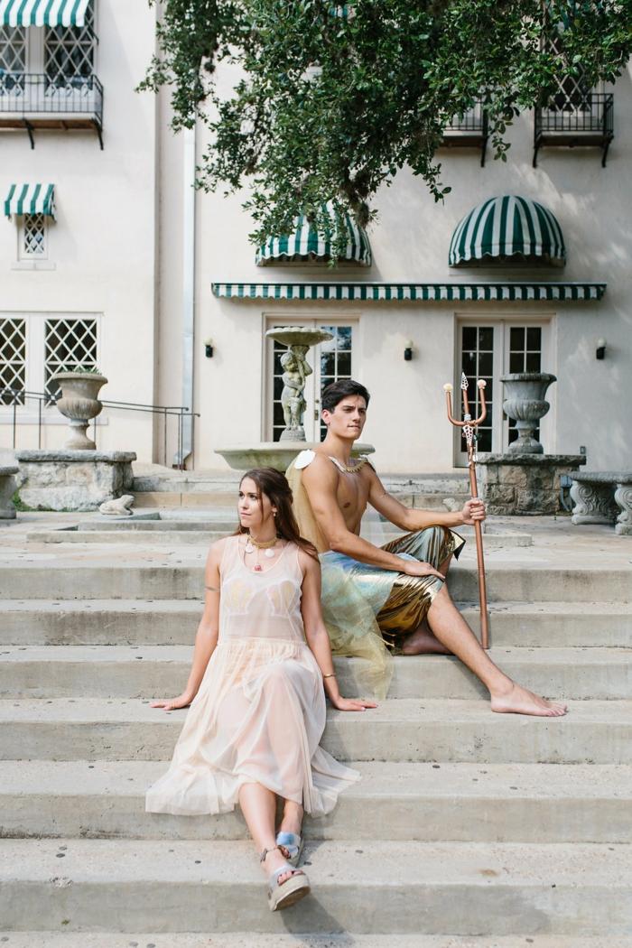 trajes de carnaval de Poseidon y una Sirena, ideas originales de disfraces de último momento, disfraces en pareja originales